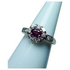 Vintage Gem Ruby Baguette Diamond Ring 14K Gold Estate
