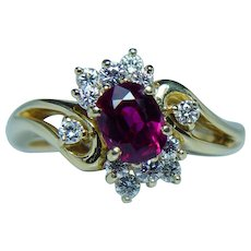 Vintage 18K Gold Diamond Ruby Ring Gem Quality Dainty Estate