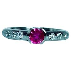 Burmese Ruby Old European Diamond Platinum Ring Band Vintage Estate
