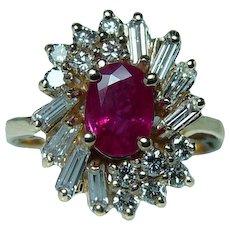 Gem Ruby Baguette Diamond 14K Gold Ring