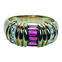 Designer Signed Burma Ruby Diamond Ring 18K Gold Estate