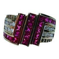 Designer Burma Princess Ruby Diamond Ring 18K Gold HEAVY Signed Estate