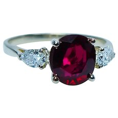 GIA 2ct Natural Thai Ruby Pear Diamond 3 stone Ring 18K Gold Certified Vintage