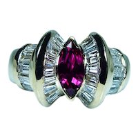 Vintage Burmese Ruby Marquise Diamond 18K Gold Ring Designer Signed