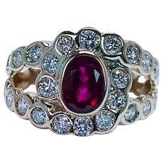 Vintage Burmese Ruby Diamond Halo Ring 14K Gold Estate Gem