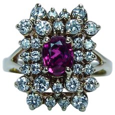 Burmese Ruby Diamond Halo Ring 14K Gold Estate Gem
