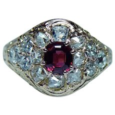 Victorian Old Miner Cushion Diamond Ruby Ring 18K Gold Estate circa 1870s