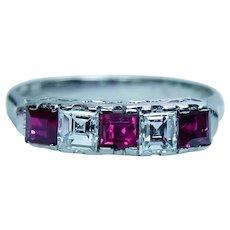 Vintage Asscher Diamond Ruby Anniversary Ring Platinum Designer Estate VVS-F