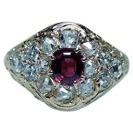 Victorian Old Miner Cushion Diamond Ruby Ring 18K Gold 1870s