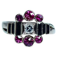 Asscher Carre Diamond Ruby 14K Rose Gold Ring