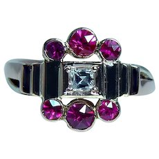 Asscher Diamond Ruby 14K Rose Gold Ring