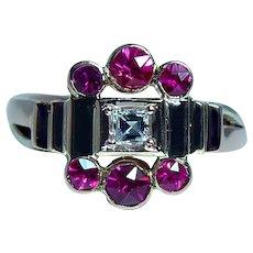 Asscher Diamond Ruby 14K Rose Gold Ring
