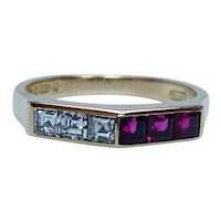 English Asscher Diamond Ruby Ring Band 18K Gold Estate Designer