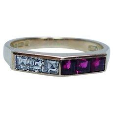 English Asscher Diamond Ruby Ring Band 18K Gold Estate Designer