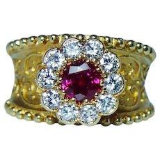 Cynthia Bach Burmese Ruby VVS-D Diamond Ring 18K Gold Designer