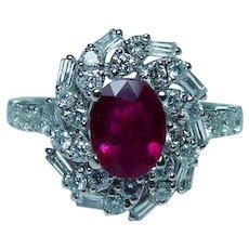 Vintage 18K White Gold Gem Ruby Baguette Diamond Ring Estate