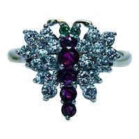 Vintage Gem Ruby Emerald Diamond Butterfly Ring 18K Gold Estate