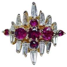 Vintage 18K Gold Burmese Ruby Baguette Diamond Ring Estate VVS