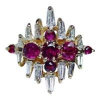 Burmese Ruby Baguette Diamond 18K Gold Ring VVS