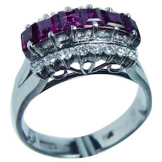 VINTAGE 18K White Gold Princess Ruby Diamond Filigree Ring  2.20cts Estate