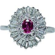 Vintage 14K White Gold Ruby 1ct Baguette Diamond Ballerina Ring Estate Jewelry