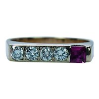 Vintage Diamond Ruby Ring Band 18K Gold Estate VS-G