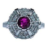 Vintage 18K White Gold Gem Ruby Baguette Diamond Ballerina Ring Estate