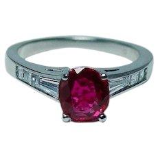 Vintage Burmese Ruby Asscher Baguette Diamond Ring Platinum Estate Jeff Cooper