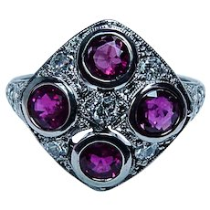 Art Deco Antique Old European Diamond Burmese Ruby Ring Platinum Estate