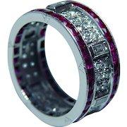 Art Deco Platinum French cut Ruby Baguette Diamond Eternity Ring Band Estate