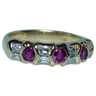 Vintage 18K Gold Ruby Diamond Baguette Ring Band European Estate