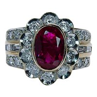 Vintage 2.7ct Ruby Baguette Diamond Halo Ring 18K Gold HEAVY Estate
