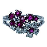 Vintage Burmese Ruby Diamond Ring Platinum Floral Designer Estate VVS-F
