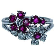 Vintage Burmese Ruby Diamond Ring Platinum Floral Designer Estate VVS-F