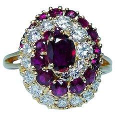 Ruby Diamond 18K Gold Cocktail Ring High Quality