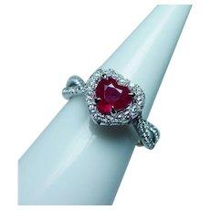 Vintage 18K White Gold Ruby Heart Diamond Halo Ring Estate
