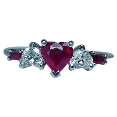 Vintage 14K White Gold Ruby Heart Diamond 3 stone Ring Estate