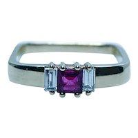 Vintage Burmese Ruby Baguette Diamond 3 stone Ring 18K Gold Designer Signed