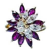 Vintage Pigeon Blood Red Ruby Marquise Diamond 18K Gold Ring Designer