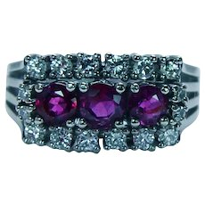 Vintage Burmese Ruby Diamond Ring 14K White Gold Estate
