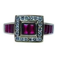 Levian Le Vian Vintage Ruby Diamond Ring 18K Gold Designer Signed Estate