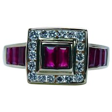 Levian Le Vian Vintage Ruby Diamond Ring 18K Gold Designer Signed Estate