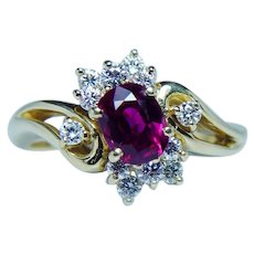 Gem Quality Burmese Ruby Diamond Ring  18K Gold Dainty