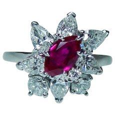 Vintage Platinum Ruby Diamond Pear Ring  Designer Signed McTeigue