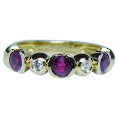 Paul Morelli 18K Gold Gem Ruby Diamond Ring Band Designer Signed