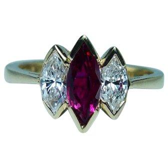 Vintage Burmese Ruby Marquise Diamond 18K Gold 3 stone Ring Estate