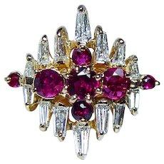 Vintage Burmese Ruby Baguette Diamond 18K Gold Ring VVS