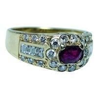 Vintage 18K Gold Baguette Diamond Ruby Ring Designer Signed