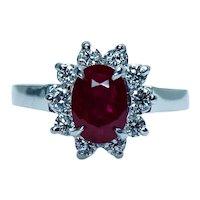 Vintage 2ct Ruby Diamond 18K White Gold Halo Ring Estate