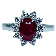 Vintage 2ct Ruby Diamond 18K White Gold Halo Ring Estate